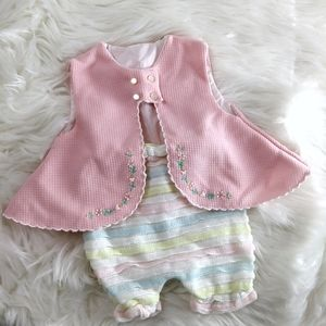 Vintage baby 50s 60s vest and ruffle bloomer girls